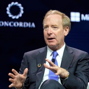 NEW YORK, NEW YORK - SEPTEMBER 23: Brad Smith, President of Microsoft, speaks onstage during the 2019 Concordia Annual Summit - Day 1 at Grand Hyatt New York on September 23, 2019 in New York City. (Photo by Riccardo Savi/Getty Images for Concordia Summit)